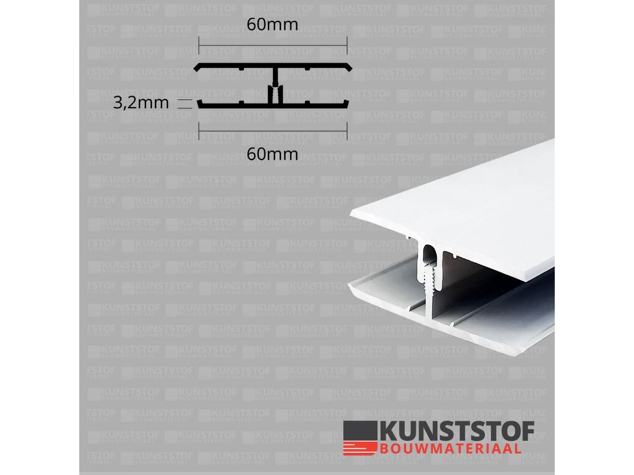 Eurotexx Dubbel Rabat - potdeksel 50mm verbindingsprofiel 2 delig kunststof gevelbekleding profiel in de kleur wit - RAL 9010