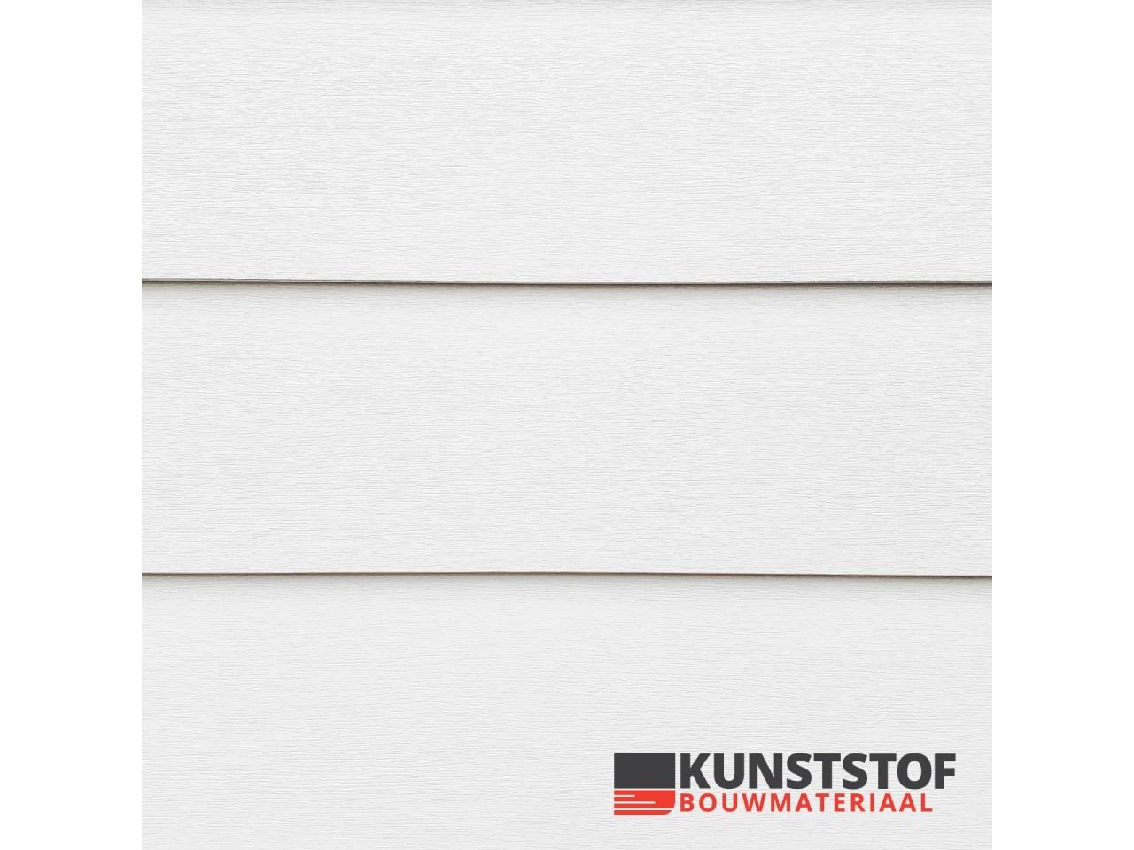 Profex potdeksel kunststof gevelbekleding in de kleur wit met RAL 9010 heeft een prachtige Zweeds rabat uitstraling. Dit is uiterst geschikt voor chalets, stacaravans, woonwagens of woningen.