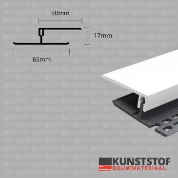 Eurotexx Dubbel Rabat - potdeksel 17mm ventilatie afsluitprofiel kunststof in de kleur wit ral 9010