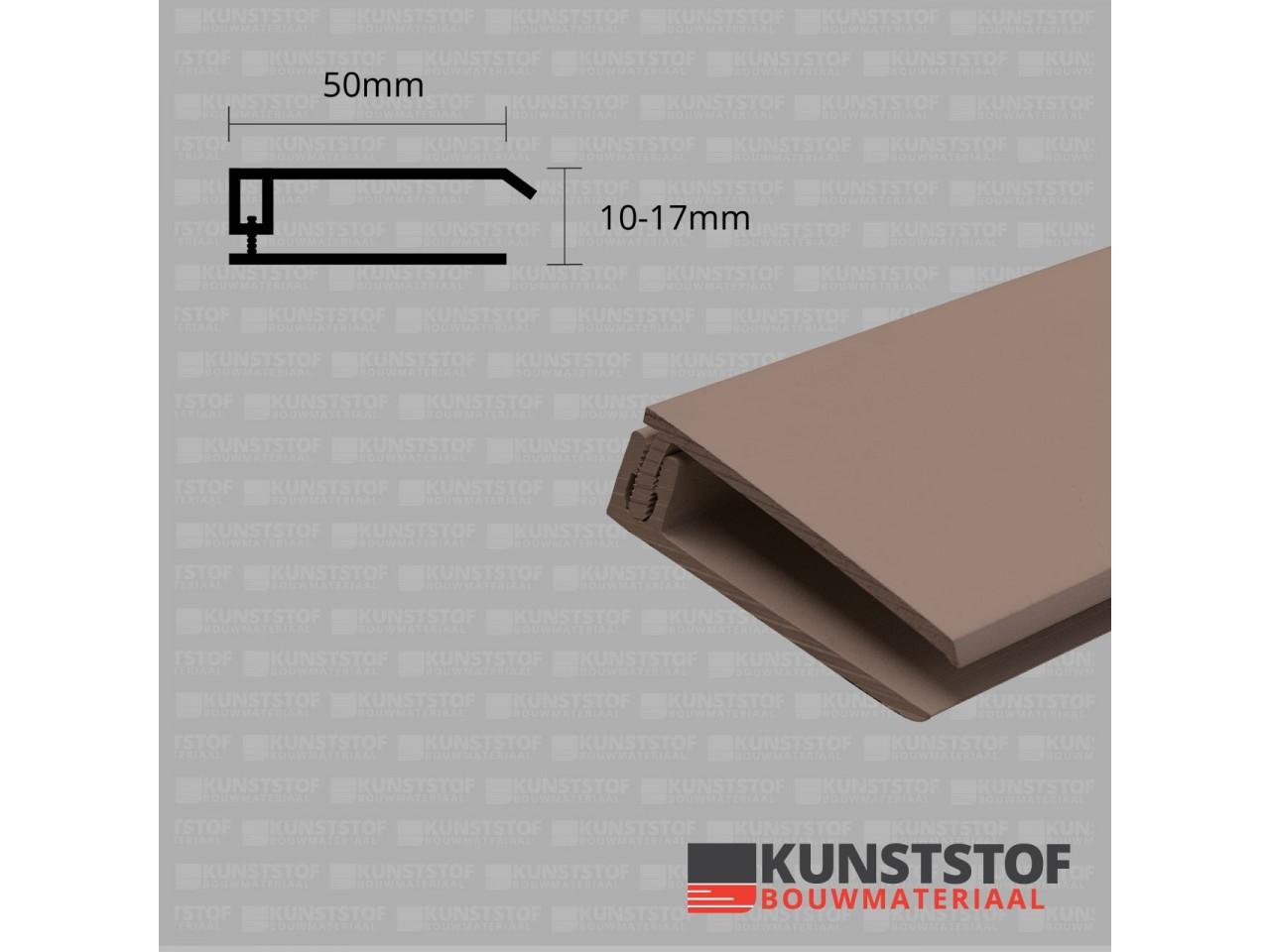 Eurotexx Dubbel Rabat - potdeksel 50mm eindprofiel kunststof gevelbekleding in de kleur  olijf donker bruin