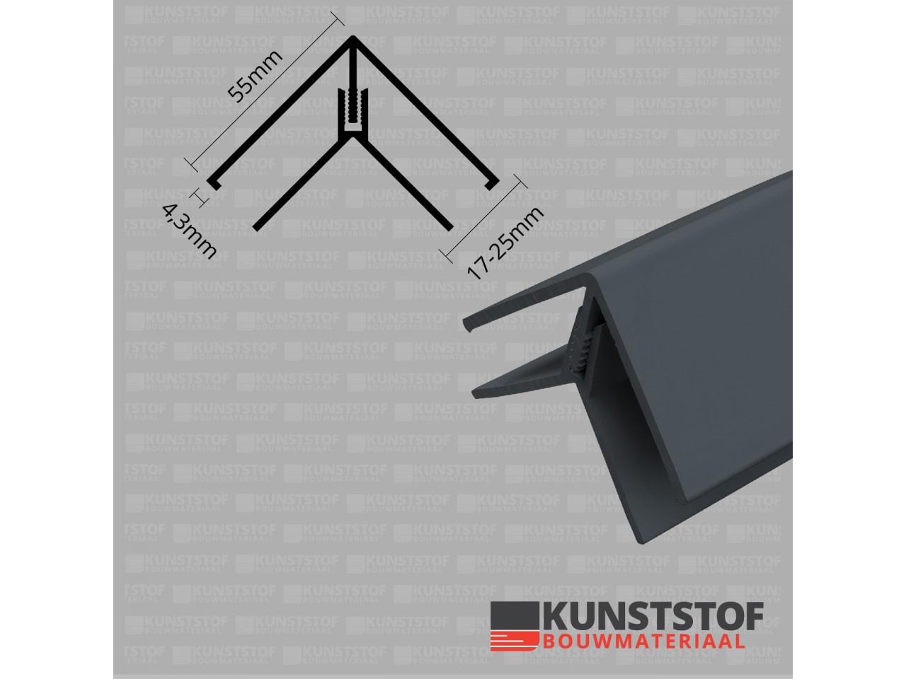 Eurotexx Dubbel Rabat hoekprofiel 2-delig kunststof in de kleur antraciet ral 7015 donker grijs