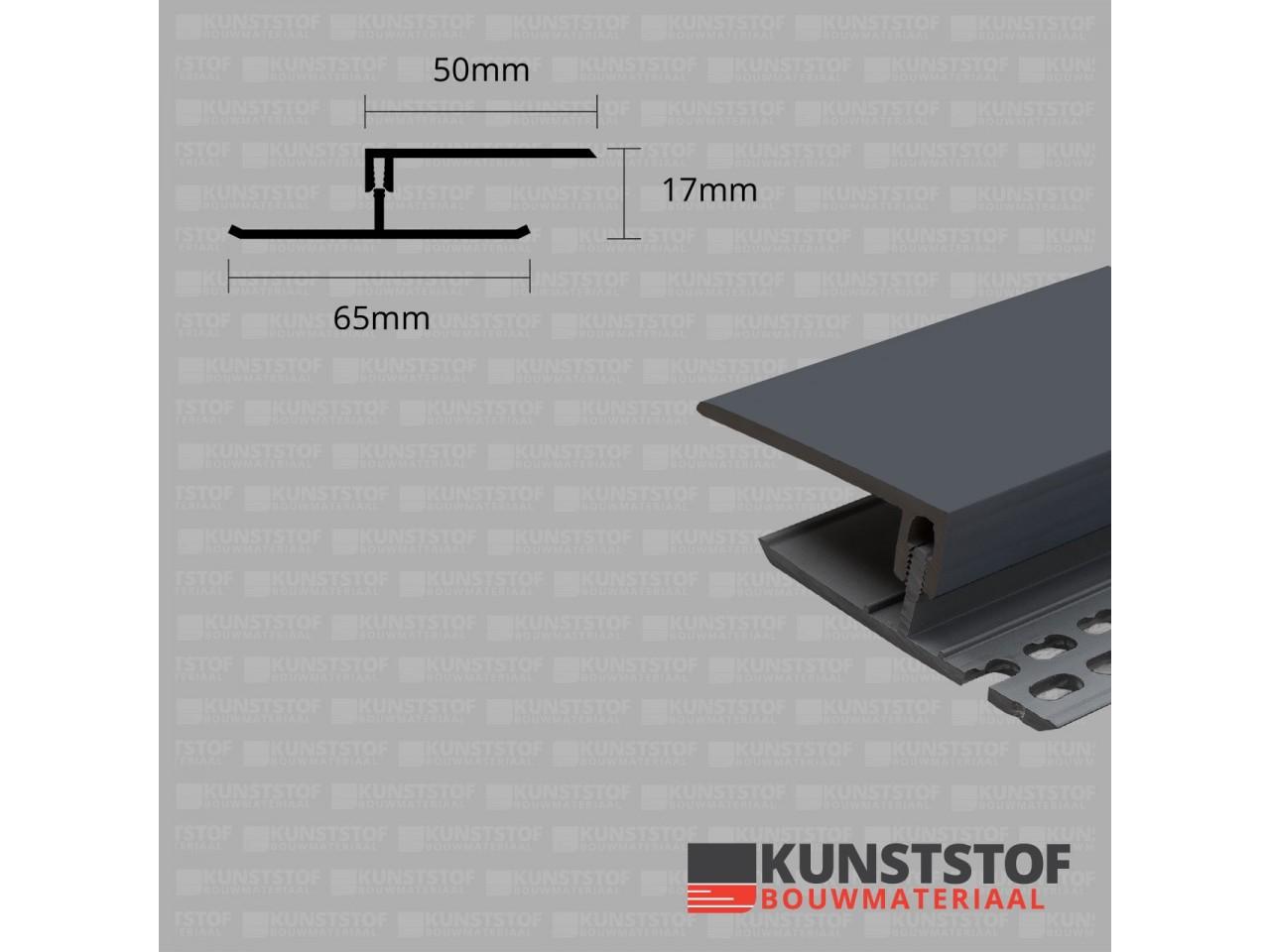 Eurotexx Dubbel Rabat - potdeksel 17mm ventilatie afsluitprofiel kunststof in de kleur antraciet ral 7015 donker grijs