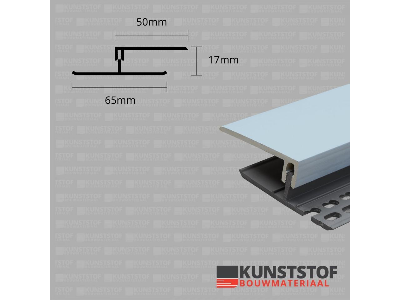 Eurotexx Dubbel Rabat - potdeksel 17mm ventilatie afsluitprofiel kunststof in de kleur lichtblauw