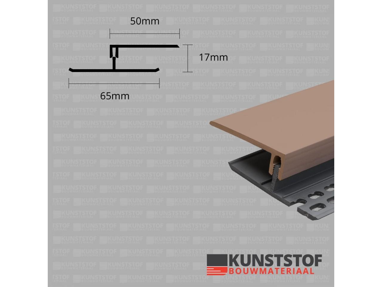 Eurotexx Dubbel Rabat - potdeksel 17mm ventilatie afsluitprofiel kunststof in de kleur olijf donker bruin