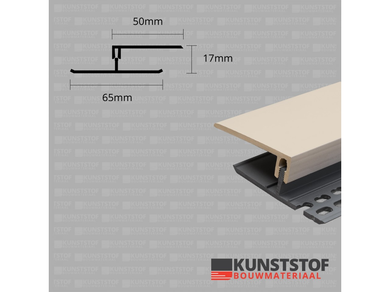 Eurotexx Dubbel Rabat - potdeksel 17mm ventilatie afsluitprofiel kunststof in de kleur sand ral 1015 znad kleurig licht bruin