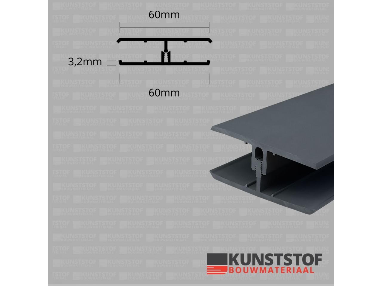 Eurotexx Dubbel Rabat - potdeksel 50mm verbindingsprofiel 2 delig kunststof gevelbekleding profiel in de kleur antraciet ral 7015 donker grijs zwart