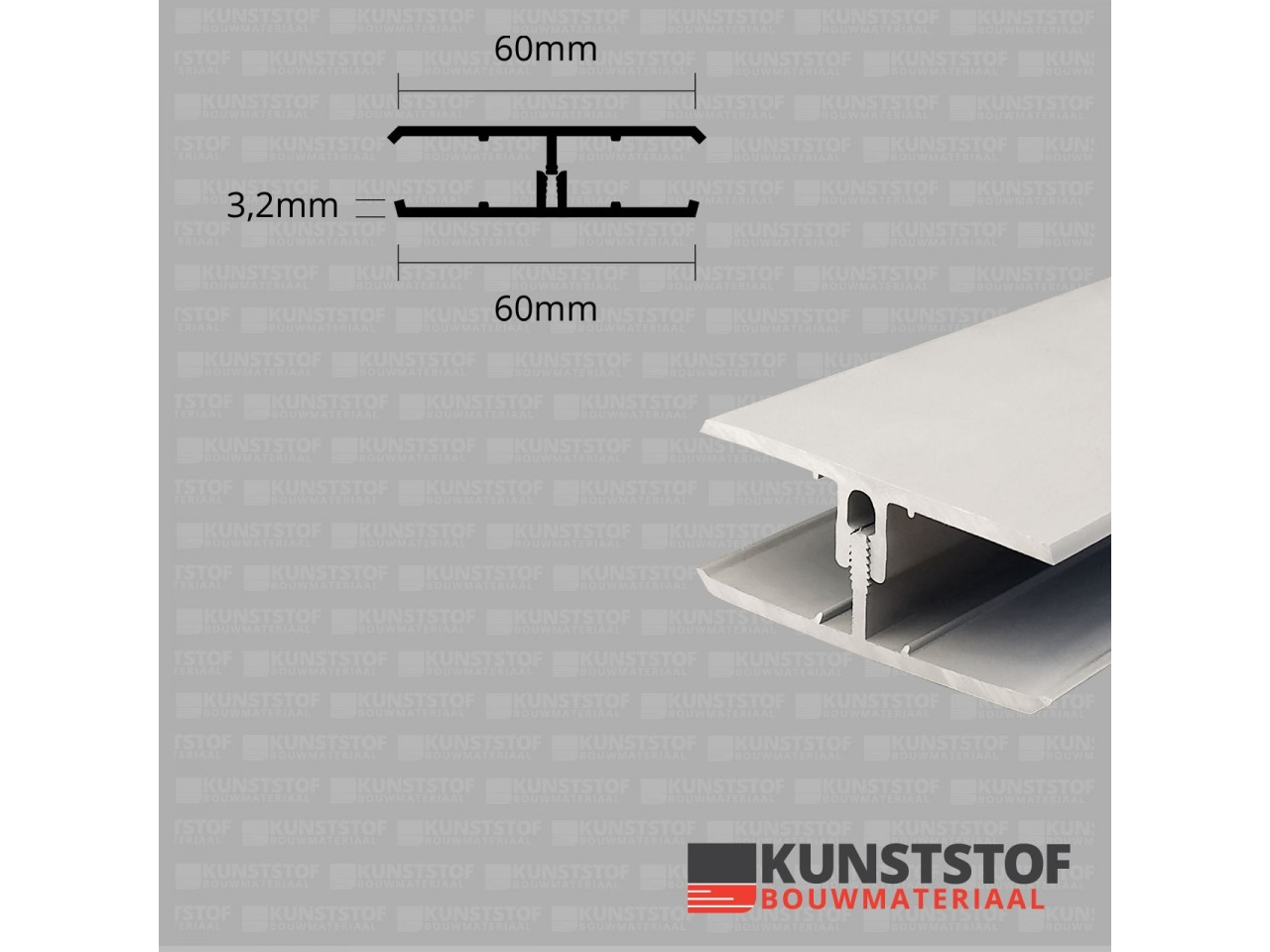 Eurotexx Dubbel Rabat - potdeksel 50mm verbindingsprofiel 2 delig kunststof gevelbekleding profiel in de kleur creme ral 9001
