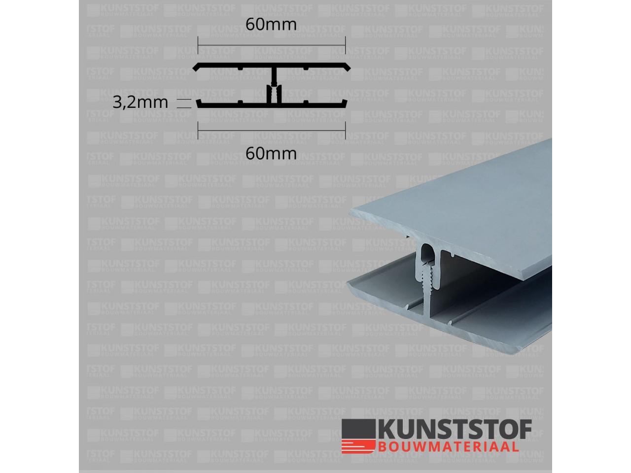 Eurotexx Dubbel Rabat - potdeksel 50mm verbindingsprofiel 2 delig kunststof gevelbekleding profiel in de kleur grijs ral 7001