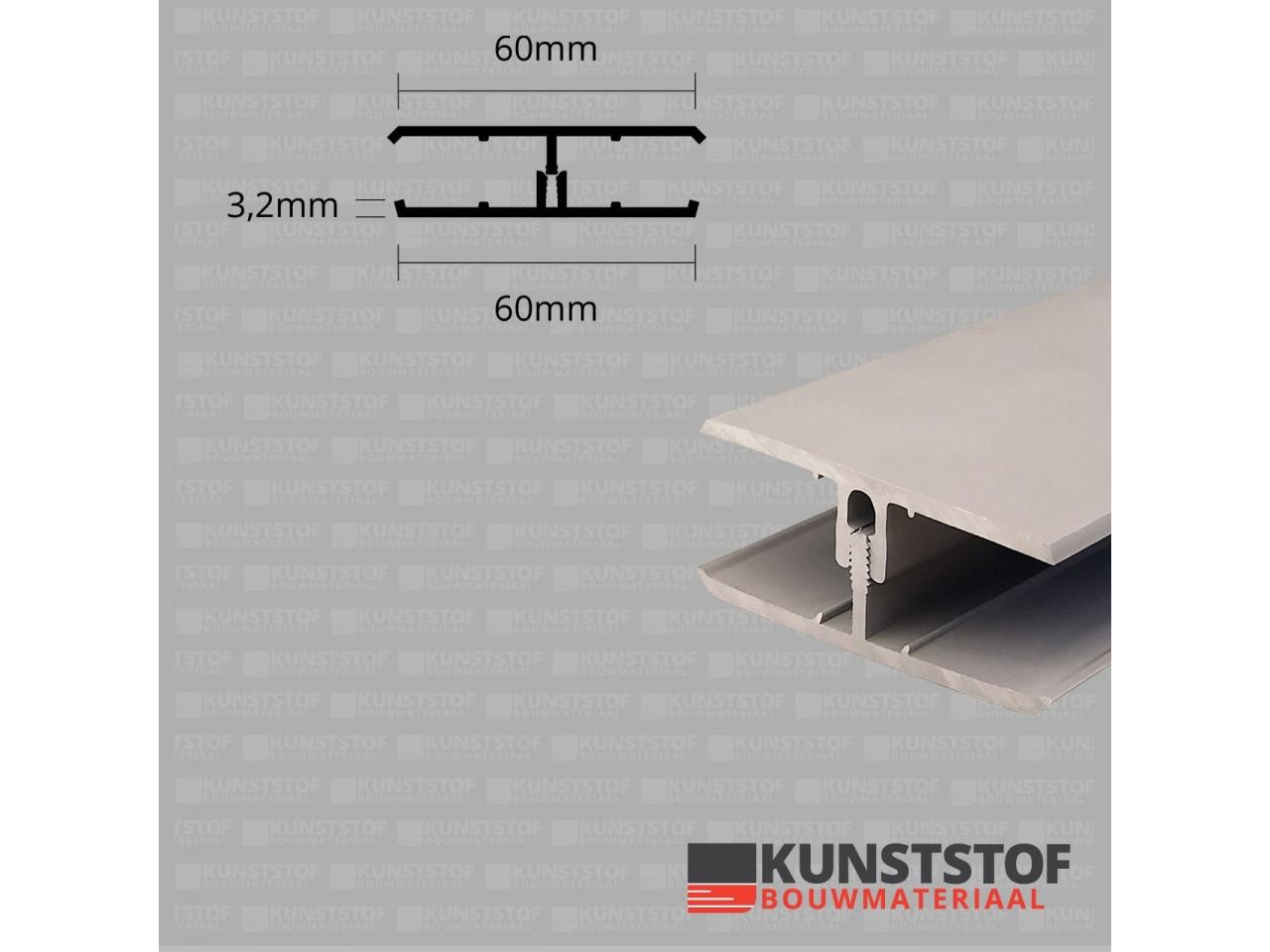 Eurotexx Dubbel Rabat - potdeksel 50mm verbindingsprofiel 2 delig kunststof gevelbekleding profiel in de kleur klei licht bruin