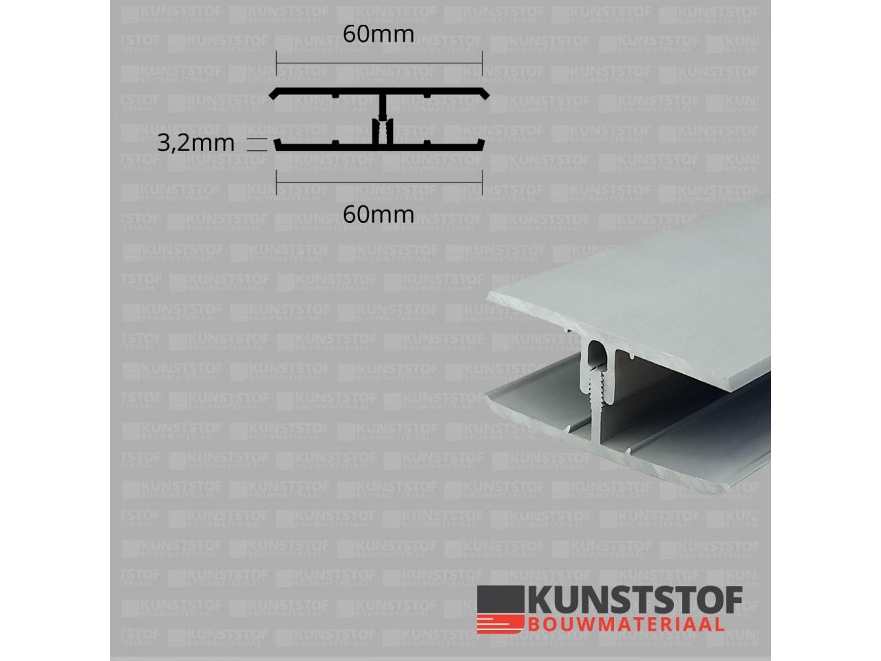 Eurotexx Dubbel Rabat - potdeksel 50mm verbindingsprofiel 2 delig kunststof gevelbekleding profiel in de kleur licht grijs ral 7035