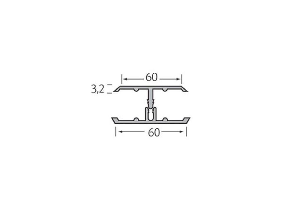 Eurotexx Dubbel Rabat - potdeksel 50mm verbindingsprofiel kunststof gevelbekleding lijn tekening 2 delig