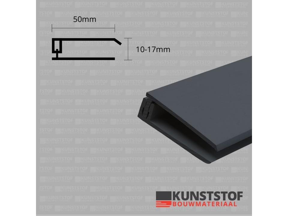 Eurotexx Dubbel Rabat - potdeksel 50mm eindprofiel kunststof gevelbekleding in de kleur  antraciet donker grijs ral 7015