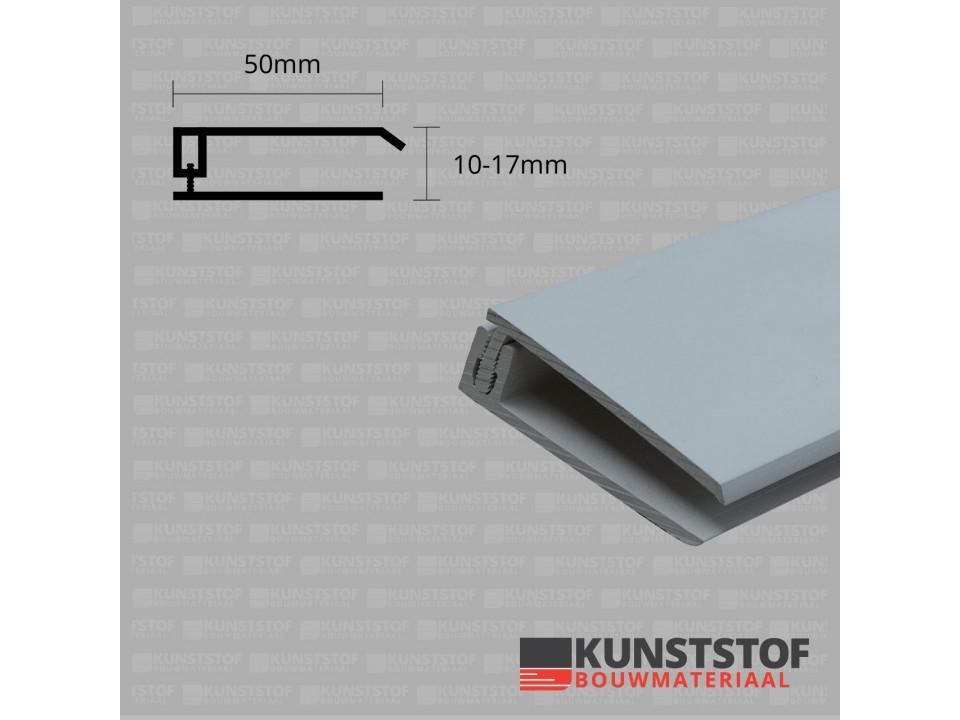 Eurotexx Dubbel Rabat - potdeksel 50mm eindprofiel kunststof gevelbekleding in de kleur grijs ral 7001