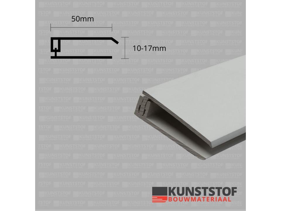 Eurotexx Dubbel Rabat - potdeksel 50mm eindprofiel kunststof gevelbekleding in de kleur  licht grijs ral 7035