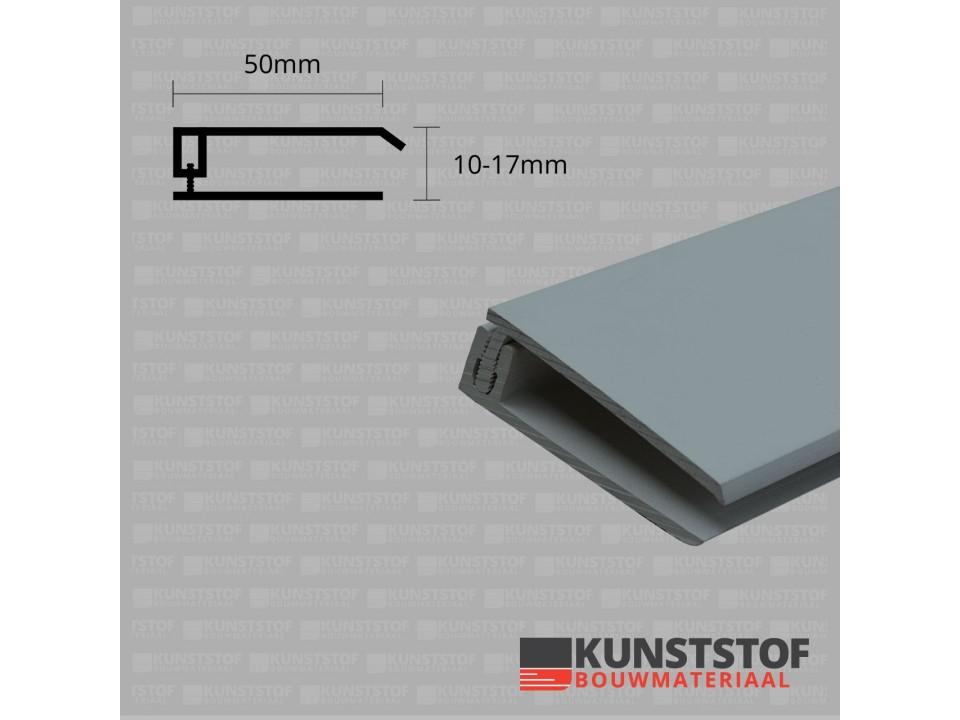 Eurotexx Dubbel Rabat - potdeksel 50mm eindprofiel kunststof gevelbekleding in de kleur quartz grijs ral 7045