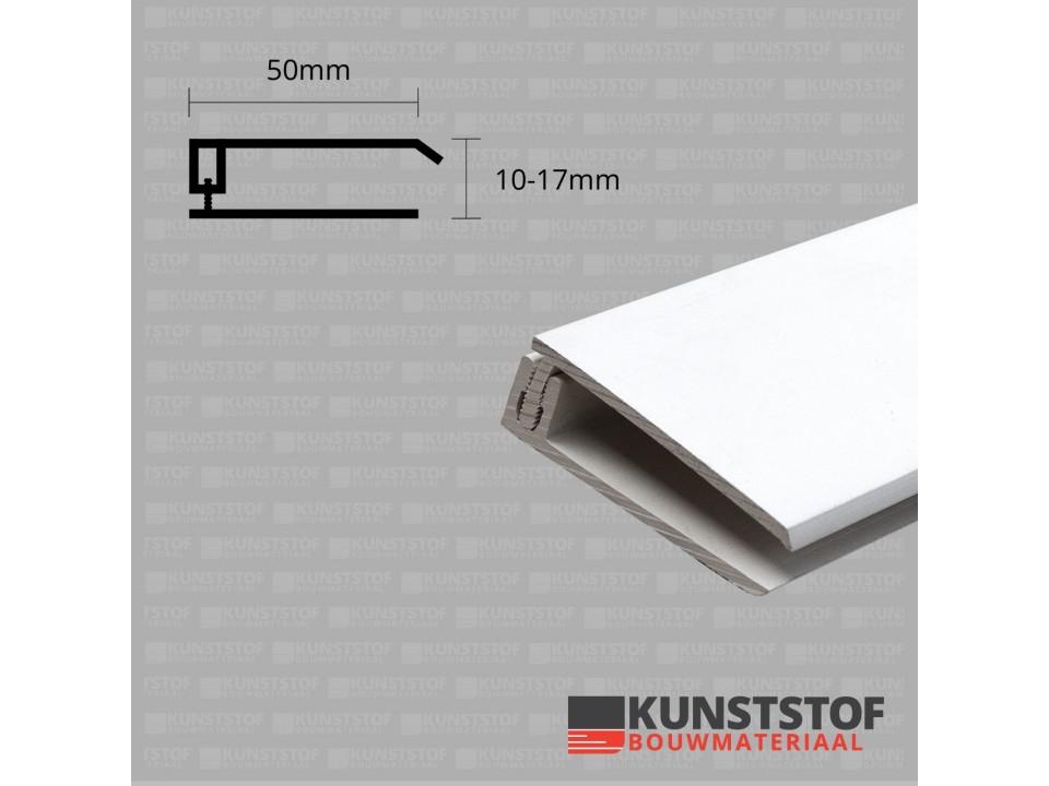Eurotexx Dubbel Rabat - potdeksel 50mm eindprofiel kunststof gevelbekleding in de kleur wit ral 9010