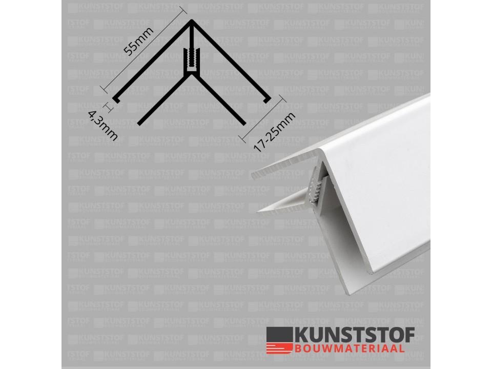 Eurotexx Dubbel Rabat hoekprofiel 2-delig kunststof in de kleur wit ral 9010