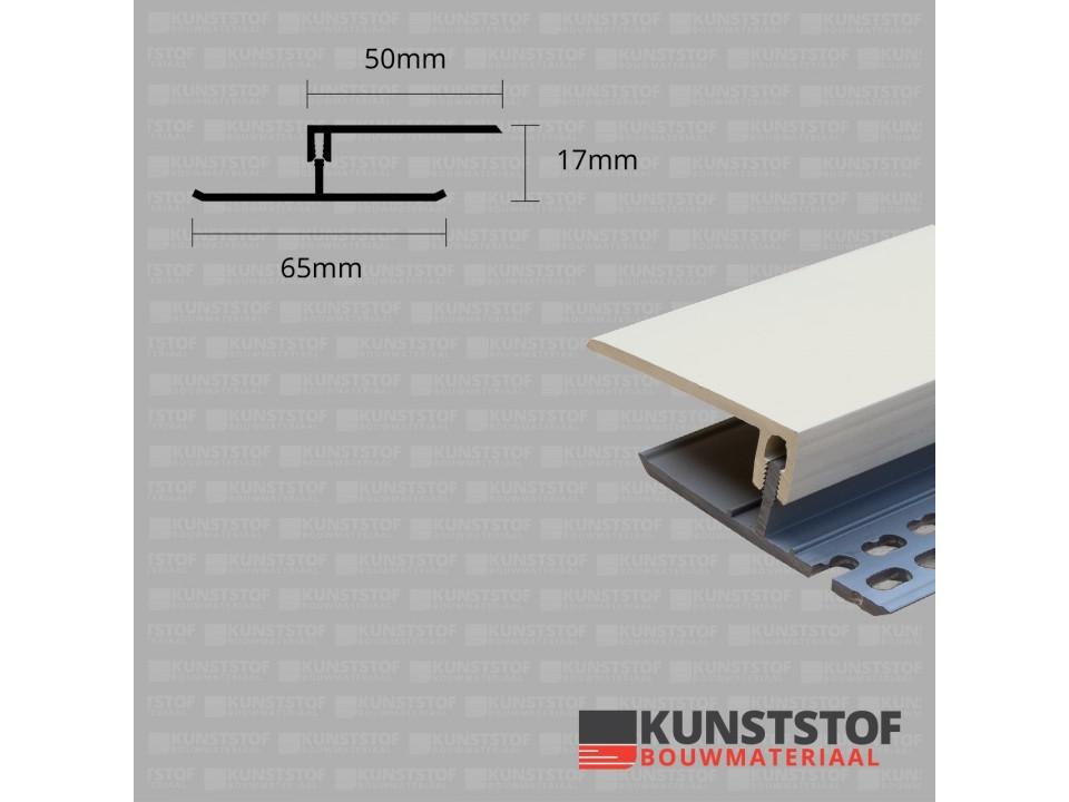 Eurotexx Dubbel Rabat - potdeksel 17mm ventilatie afsluitprofiel kunststof in de kleur creme ral 9001