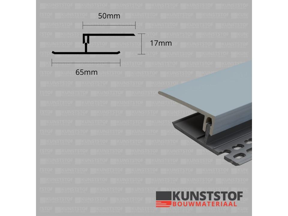Eurotexx Dubbel Rabat - potdeksel 17mm ventilatie afsluitprofiel kunststof in de kleur grijs ral 7001