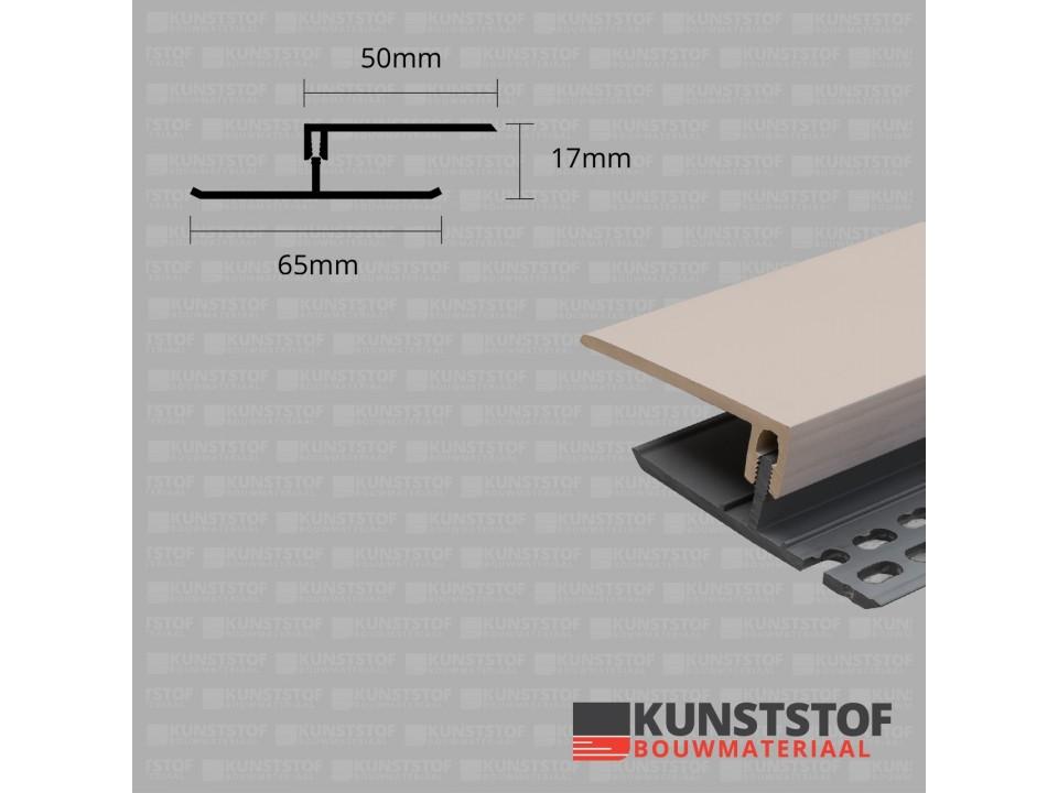 Eurotexx Dubbel Rabat - potdeksel 17mm ventilatie afsluitprofiel kunststof in de kleur klei licht bruin