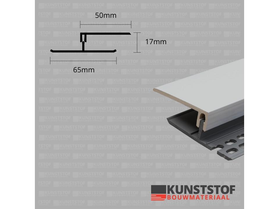 Eurotexx Dubbel Rabat - potdeksel 17mm ventilatie afsluitprofiel kunststof in de kleur lichtgrijs 7035