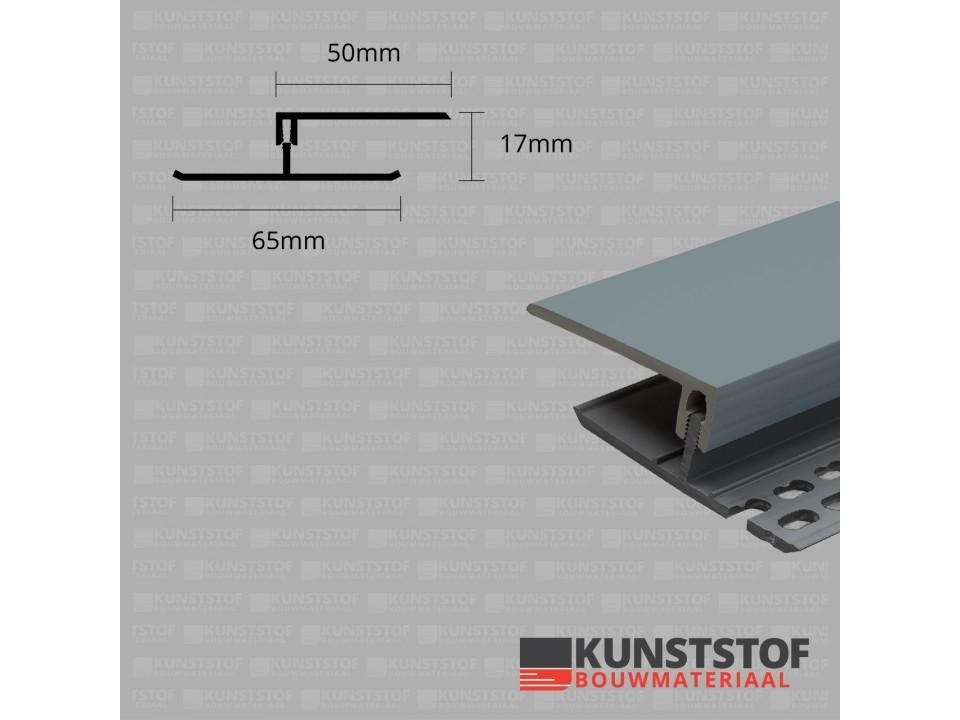 Eurotexx Dubbel Rabat - potdeksel 17mm ventilatie afsluitprofiel kunststof in de kleur quartz grijs ral 7045