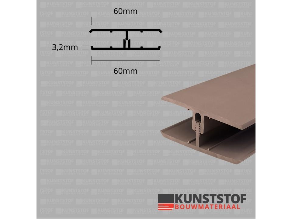 Eurotexx Dubbel Rabat - potdeksel 50mm verbindingsprofiel 2 delig kunststof gevelbekleding profiel in de kleur olijf donker bruin