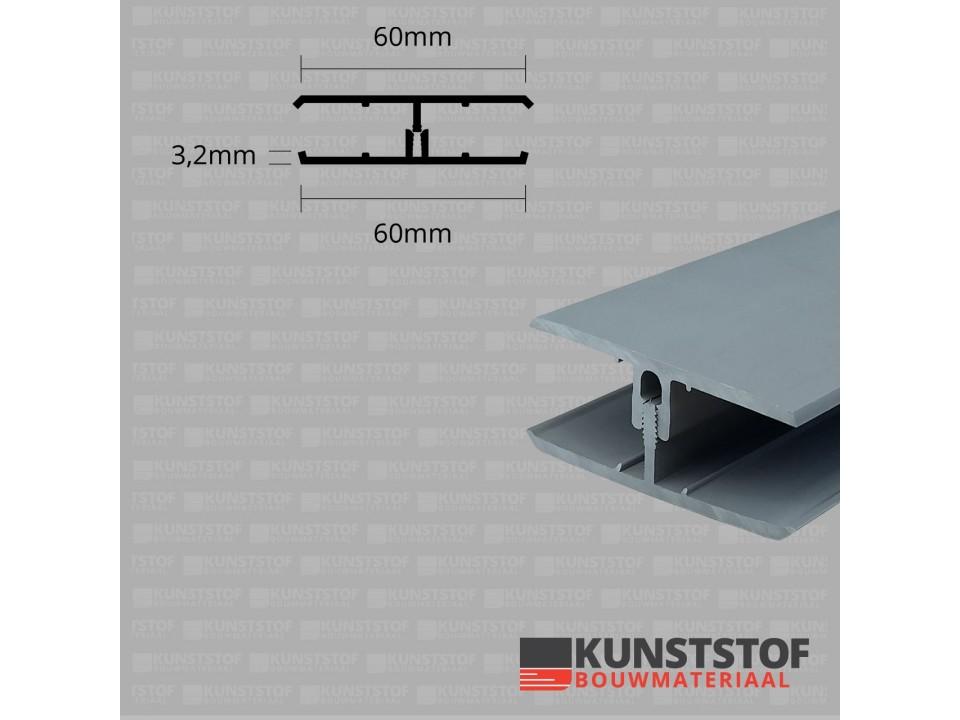 Eurotexx Dubbel Rabat - potdeksel 50mm verbindingsprofiel 2 delig kunststof gevelbekleding profiel in de kleur quartz grijs ral 7045