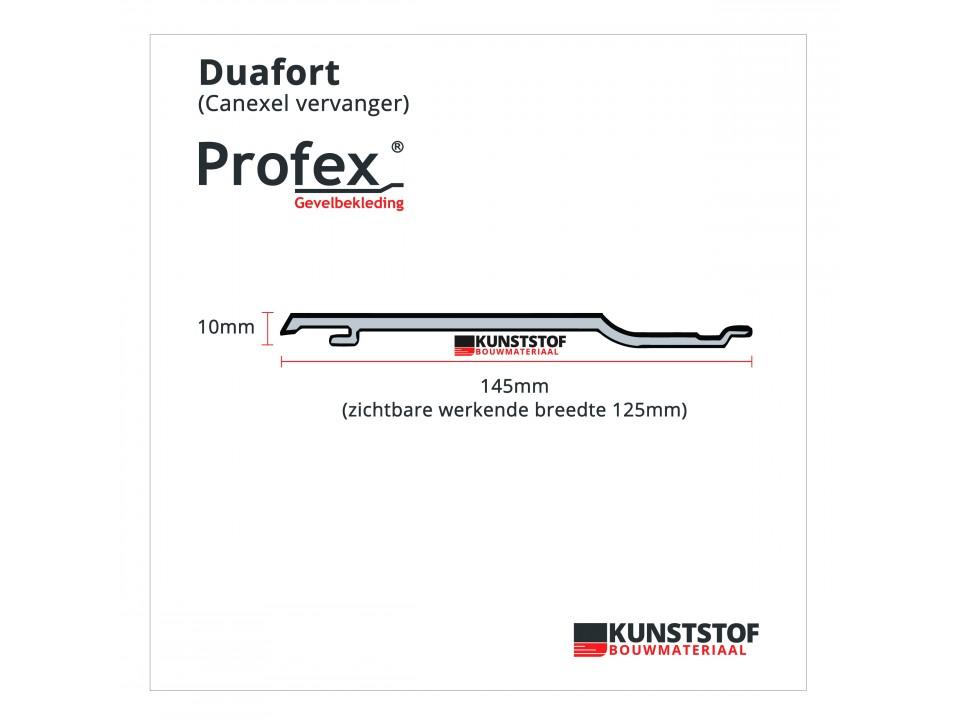 Zijaanzicht kunststof gevelbekleding Canexel vervanger - Profex Duafort