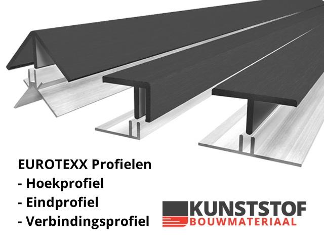 Eurotexx profielen hoekprofiel, eindprofiel en verbindingsprofiel Kunststofbouwmateriaal.nl
